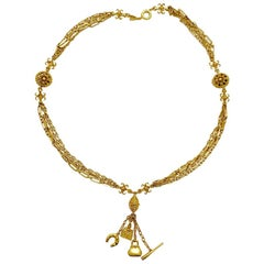 CHRISTIAN DIOR Long Multi Chains Necklace with Charms in gilt Metal