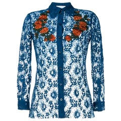 Gucci Sheer Blue Lace Embroidered Top US 0-2