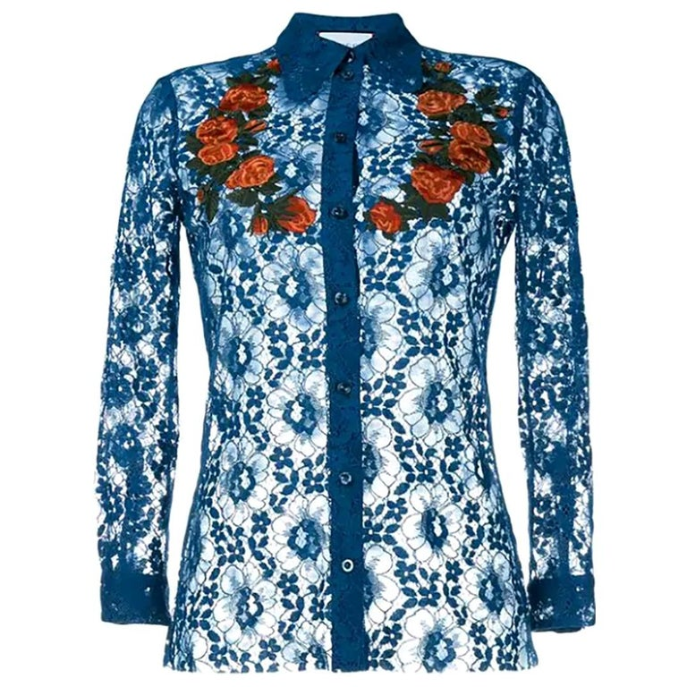 709b9e57 Gucci Sheer Blue Lace Embroidered Top US 0-2 For Sale at 1stdibs