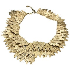 Chanel Gold tone Feather Collar Choker Necklace, 2008