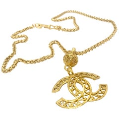 Chanel 90s Vintage CC Gold Plated Pendant Necklace