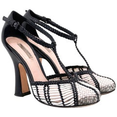 Bottega Veneta Black and White Woven Sandals US 5.5
