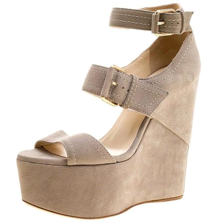 c142563958c1 Jimmy Choo Grey Nubuck Leora Platform Wedge Ankle Strap Sandals Size 36.5  For Sale