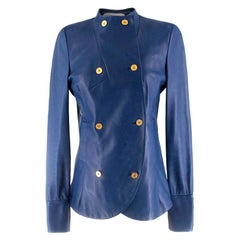 Yves Saint Laurent Blue Leather Jacket US S