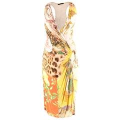 Roberto Cavalli Multi-Print Wrap Dress US 4
