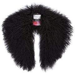 Verheyen London Shawl Collar in Black Mongolian Lamb Fur Lined in 100% Silk