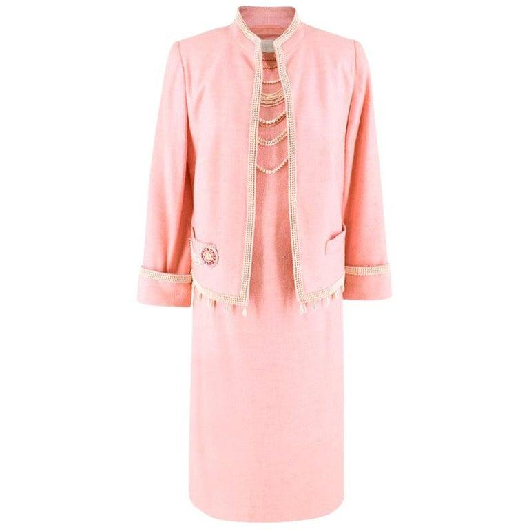 d59d12bece3 Escada Pink Tweed Faux Fur Embellished Dress & Jacket Suit US 6 For Sale