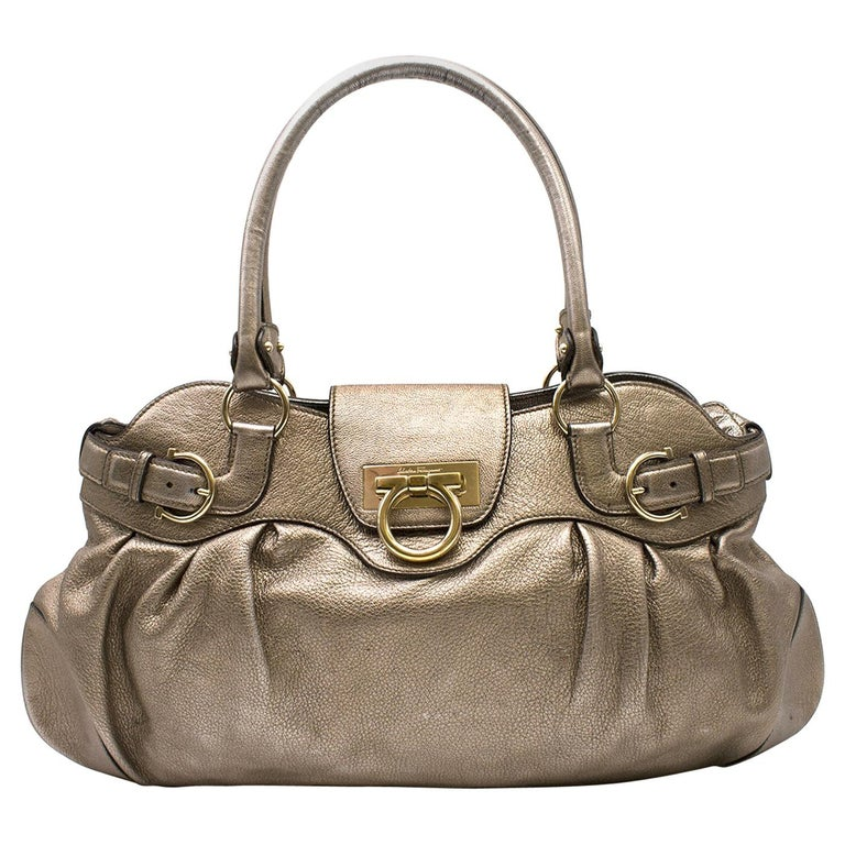 0e4f802837 Salvatore Ferragamo metallic-pewter leather bag For Sale at 1stdibs