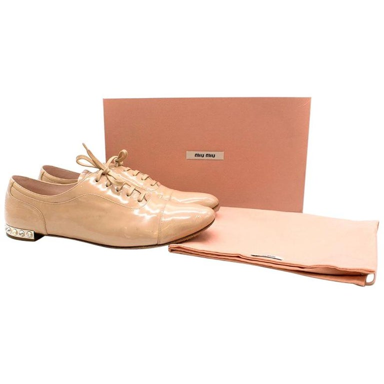fabff5253aeb Miu Miu Patent Nude Crystal Heeled Brogues US 11 For Sale at 1stdibs