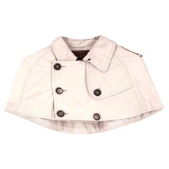 Burberry ivory cropped leather cape US 8