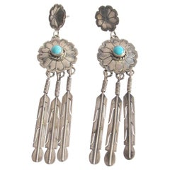 Vintage Southwest Navajo Sterling Silver Turquoise Earrings Signed NAKAI
