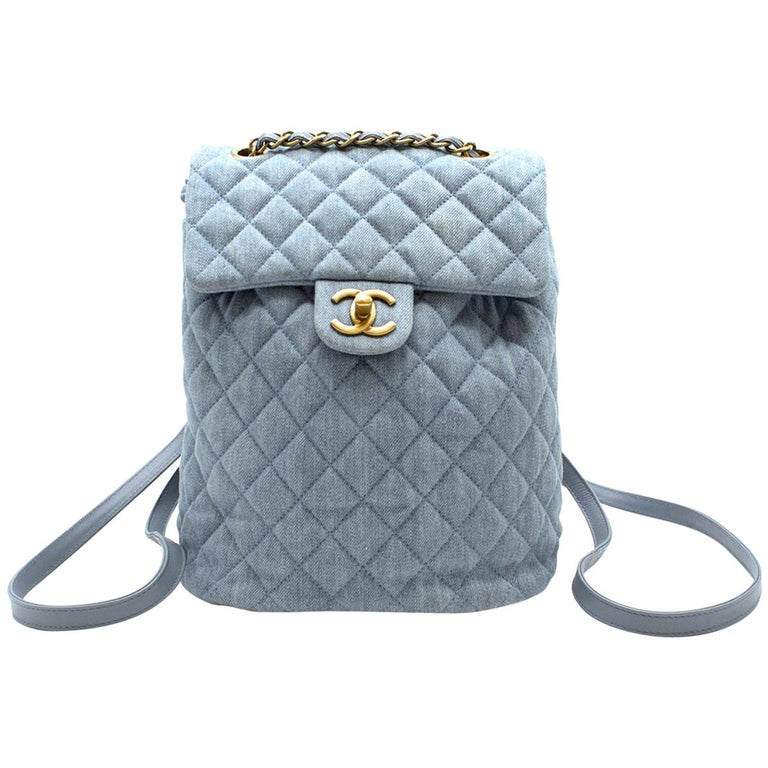 Chanel Matrasse Coco Mark denim backpack For Sale