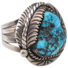 Vintage Unique Large Old Pawn Navajo Sterling Silver Turquoise Nugget Ring