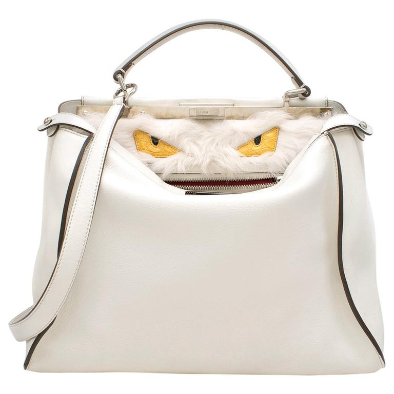 414087ddf1bd Fendi Peekaboo Large Limited Edition white leather tote For Sale at ...