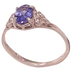 Glittering Oval Tanzanite in Detailed Sterling Silver Ring