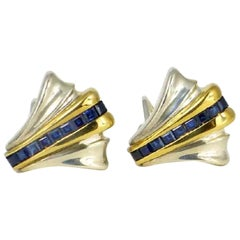 Tiffany 14 K Gold & Sterling Silver 18 Genuine Sapphire Earrings-Art Deco Style