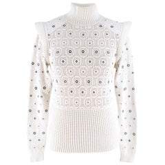 Chloe eyelet-embellished crochet-knit sweater US 4