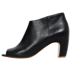 Maison Martin Margiela Black Leather Peep Toe Heeled Booties Sz 37.5