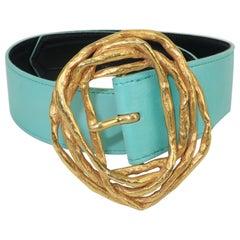 Vintage Christian Lacroix Sculptural Gold Tone Buckle & Aqua Leather Belt