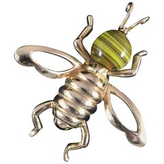 1950s Castlecliff Bee Brooch with Yellow Art Glass Head