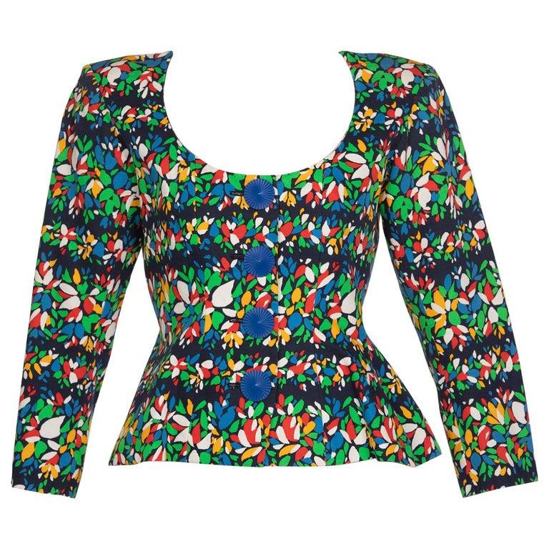 Yves Saint Laurent Floral Peplum Jacket Top, 1990s For Sale