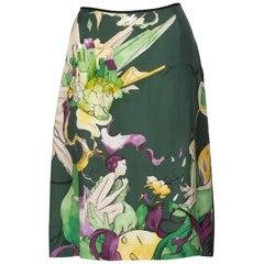 Prada Fairy James Jean Emerald Green Print Silk Skirt, 2008