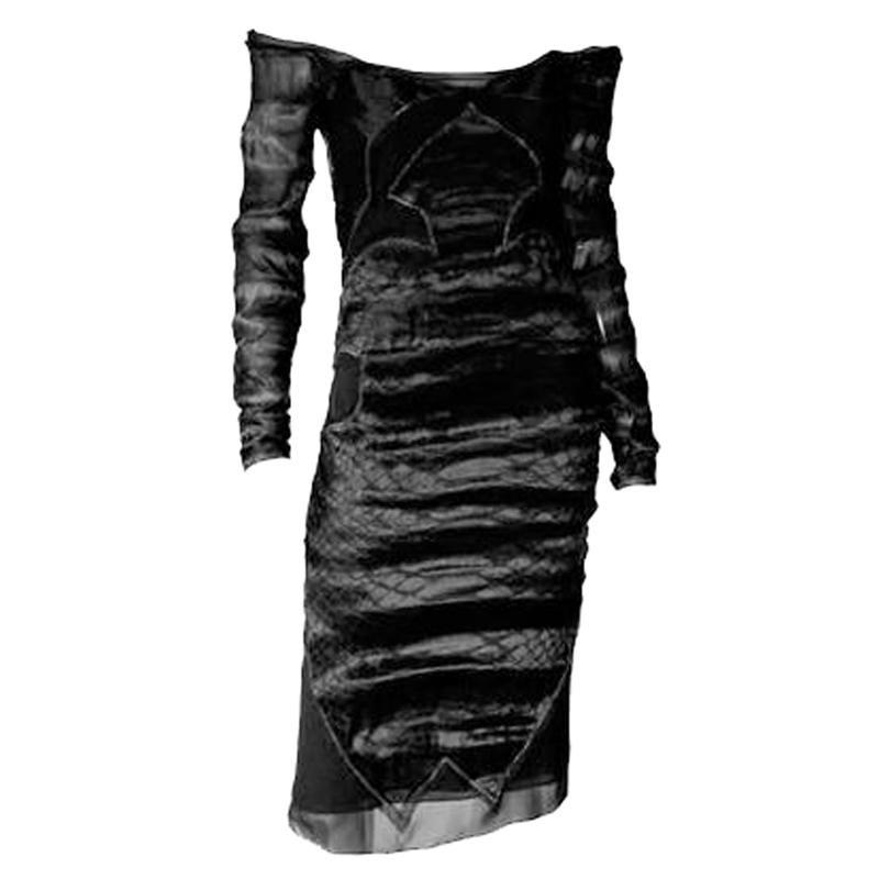 F/W 2004 TOM FORD for YVES SAINT LAURENT BLACK CHINOISERIE DRESS