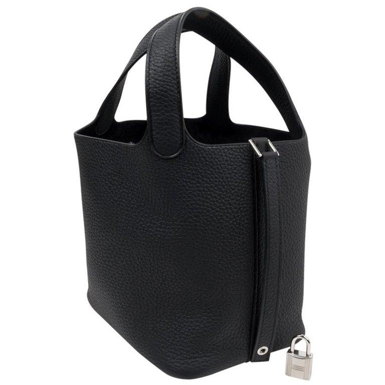 Hermes Picotin Lock 18 Bag Black Clemence Tote Palladium Hardware 1
