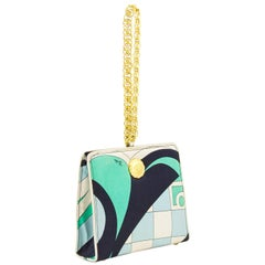 1960s Blue, Black Green & Cream Pucci Silk Wristlet Evening Bag