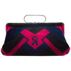 1970s Roberta Di Camerino Navy and Red Velvet Handbag