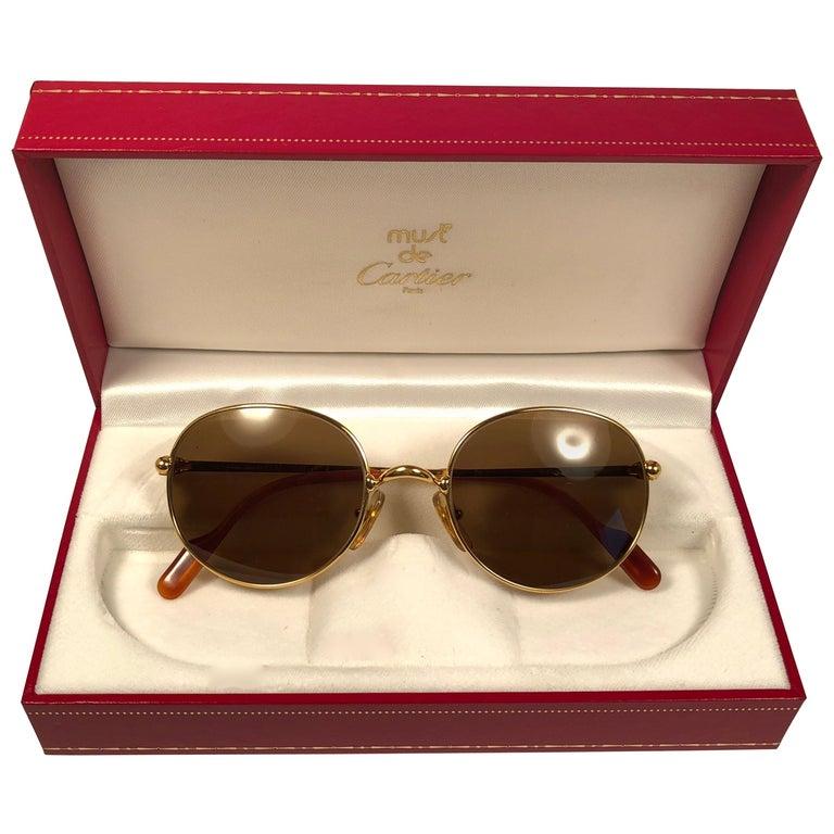 3696d03da0d5 Vintage Cartier Oval Gold Antares 49mm Frame 18k Plated Sunglasses France  For Sale