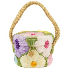 1960s Wicker and Raffia Flower Embroidered Bucket Bag