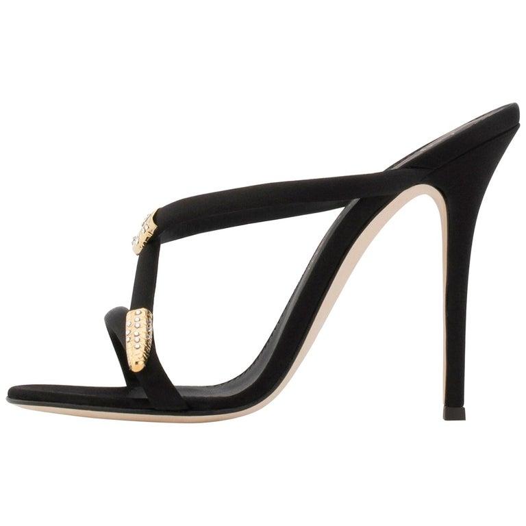 6212dedc33d Giuseppe Zanotti NEW Black Satin Gold Metal Crystal Evening Sandals Heels  in Box For Sale