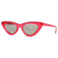 Le Specs + Adam Selman Red Resin The Last Lolita Cat Eye Mirrored Sunglasses
