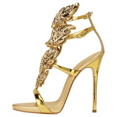 Giuseppe Zanotti NEW Gold Leather Metal Crystal Evening Sandals Heels in Box