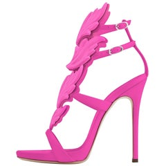 Giuseppe Zanotti NEW Fuchsia Pink Leather Metal Evening Sandals Heels in Box