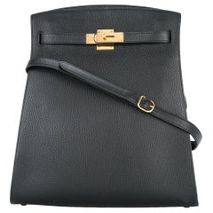 Hermes Black Leather Gold Hardware Travel Sport Single Shoulder Carryall Bag