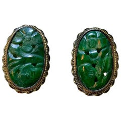 Circa 1940s Carved Jade, Sterling and 14k Clip-Back Earrings