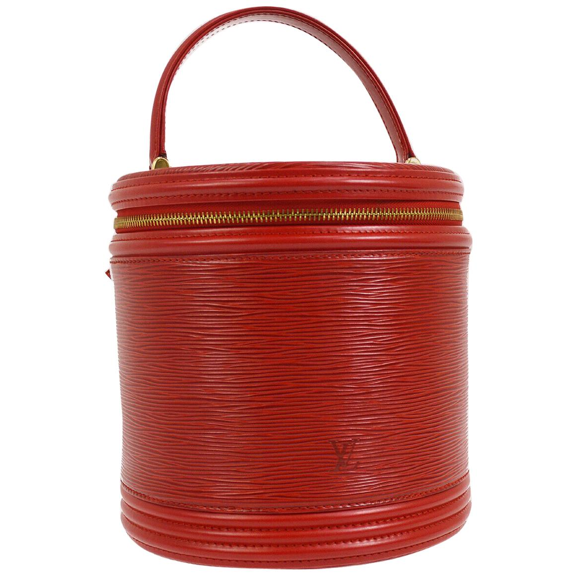 Louis Vuitton Red Leather Top Handle Satchel Travel Jewelry Cosmetic Bag