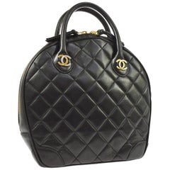 Chanel Rare Black Quilted Leather Gold Silver Top Handle Satchel Bowling Bag
