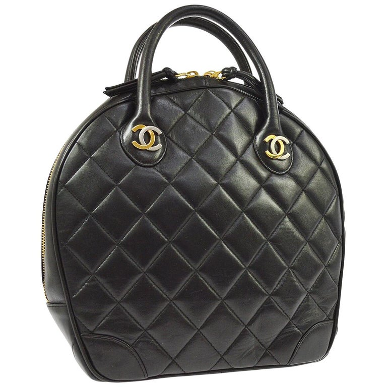 831d12604217 Chanel Rare Black Quilted Leather Gold Silver Top Handle Satchel Bowling Bag  For Sale