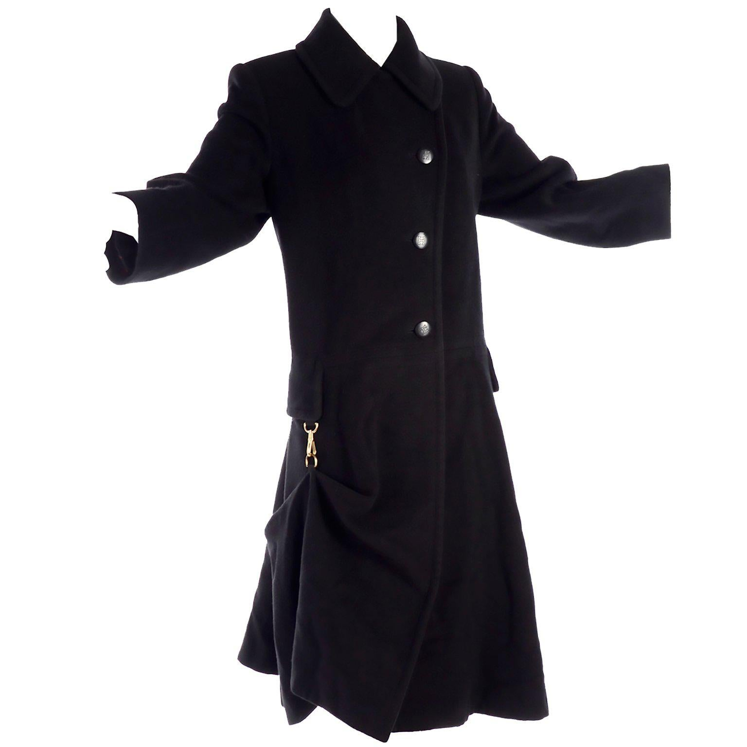 Hermes Vintage  Black Cashmere Coat With Unique Toggle Clip at Hip