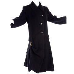 Hermes Black Cashmere Vintage Coat With Unique Toggle Clip