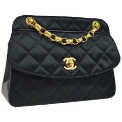 Chanel Black Leather Satin Gold Chain Small Mini Evening Shoulder Flap Bag 98b5272d04eae