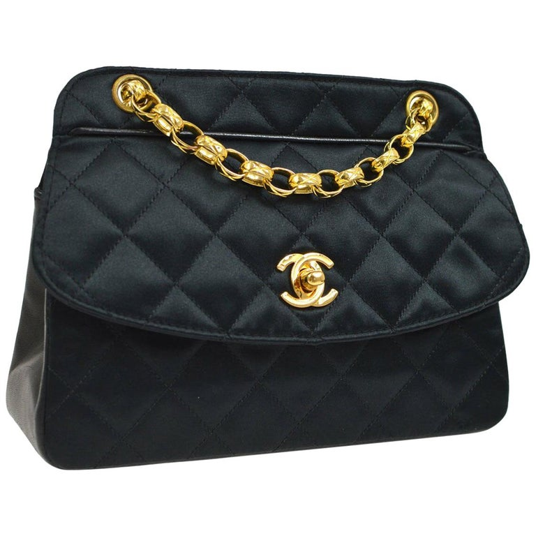 6c14b1c39d7e Chanel Black Leather Satin Gold Chain Small Mini Evening Shoulder Flap Bag  For Sale