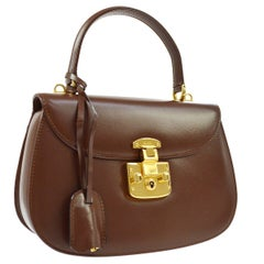 Gucci Chocolate Leather Gold Kelly Style Top Handle Satchel Flap Bag in Box