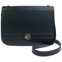 Hermes Blue Leather Gold Crossbody Carryall Shoulder Flap Bag