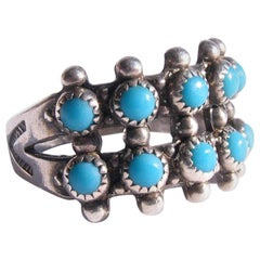Vintage Navajo Sterling Silver Gem Quality Sleeping Beauty Turquoise Ring