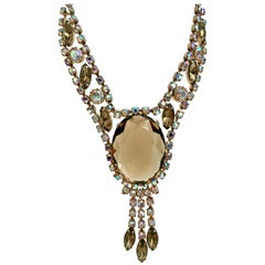 "20th Century Gold & Austrian Crystal ""Juliana"" Style Necklace"