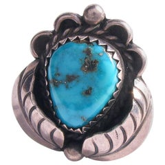 Old Pawn Navajo Sterling Silver Sleeping Beauty Turquoise Ring